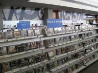 Shelving racks of CDs and DVDs